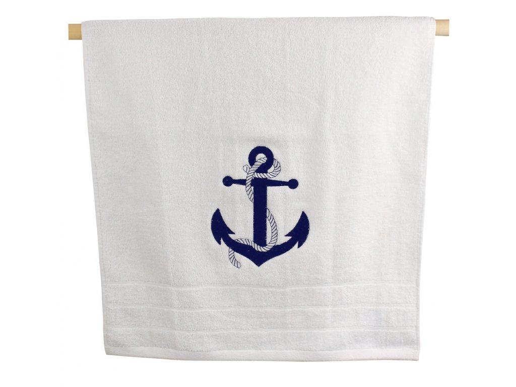 Ručník námořnický s kotvou 50 x 100 cm bílý