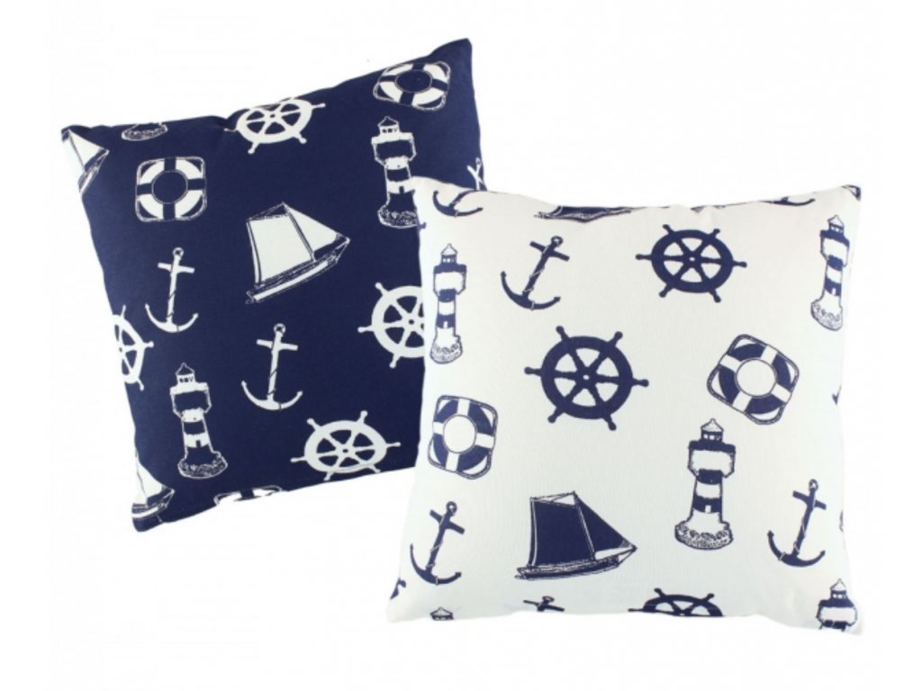 Polštář s námořnickým motivem tmavě modrý / bílý 3651