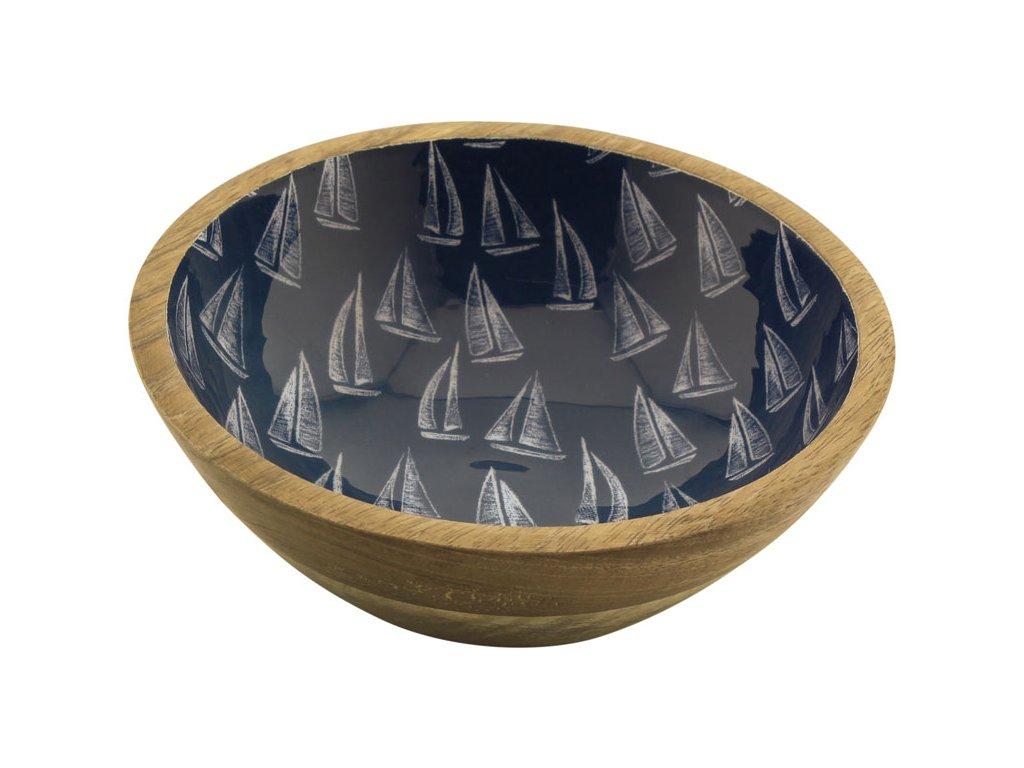 Mísa dřevěná s plachetnicemi menší 9710