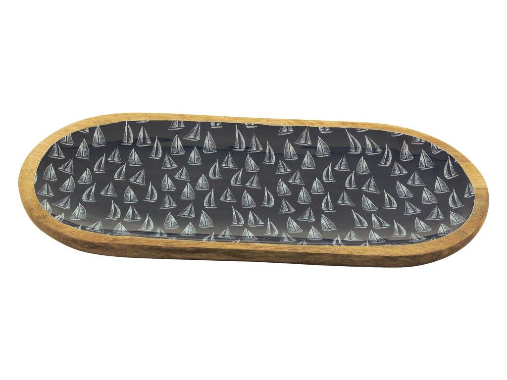 Oválný talíř dřevěný s plachetnicemi