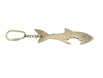 Přívěsek na klíče - otvírák na lahve mosazný - žralok 9358