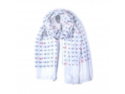 Šátek s kotvami XL barevný se vzorem ROVNÝ 4B3 2129 bílý