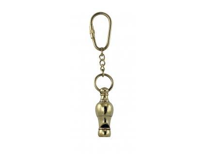 Přívěsek na klíče píšťalka mosaz
