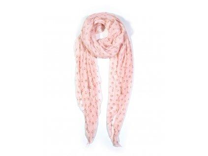 Dlouhý šátek se vzorem kotvičky růžový 150cm*65cm 4A1-121365