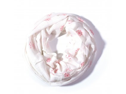Nekonečný šátek s námořnickým vzorem bílý 180cm*70cm 4C2-121354