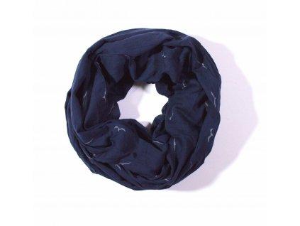 Velký nekonečný šátek tmavě modrý se vzorem 170cm*70cm 4B1-121409