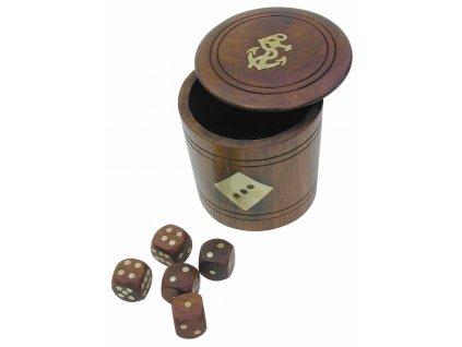 Hrací kostky dřevěné v kulaté dóze