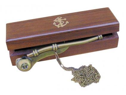 Botsmanská píšťalka mosaz/měď v dřevěné dárkové krabičce 12 cm antik