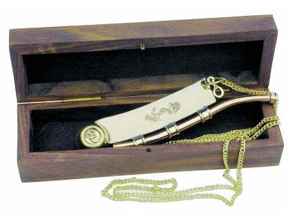 Botsmanská píšťalka mosaz/měď s kotvou v dřevěné dárkové krabičce 12,5 cm 7045