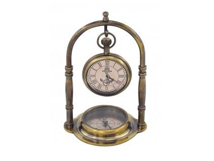 Kompas s hodinami mosazný stolní