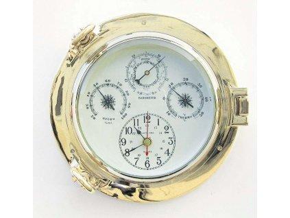Meteostanice mosazná - hodiny barometr teploměr vlhkoměr 22 cm
