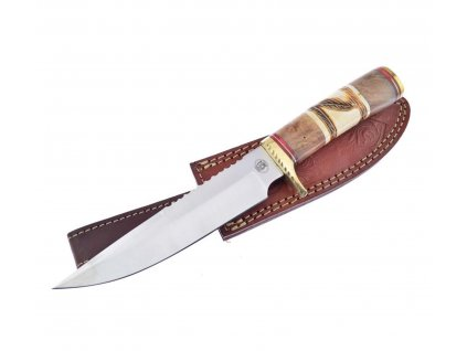 Nůž SPIRIT FEATHER s pouzdrem - indiánský broušený lovecký nůž dřevo / paroh 30 cm