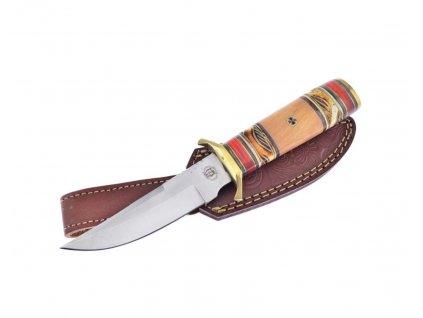 Nůž CHIPAWAY BUCK SKIN s pouzdrem - indiánský broušený lovecký nůž dřevo / paroh 25 cm