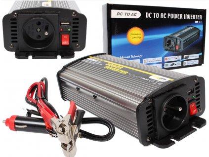 Měnič napětí Carspa CAR600U-242 modifikovaná sinus 24V/230V+USB 600W (1200W)