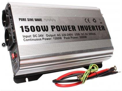 Měnič 24V/230V 1500W (3000W) čistá sinusovka