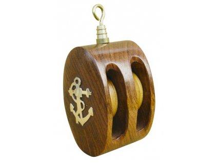 Dřevěná kladka s mosaznou kotvou 9,5 cm 9225