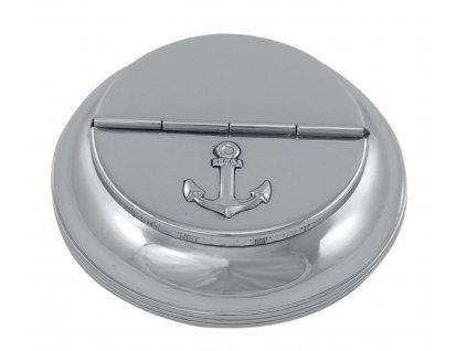 Popelník stolní mosazný poniklovaný - stříbrný 10 cm