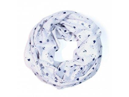 Nekonečný šátek námořnický se vzorem kotvičky 170 cm * 70 cm 9B1-3316