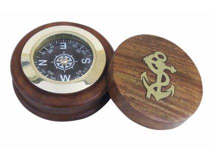 Kompas průměr 7,5 cm v dřevěné krabičce 9000