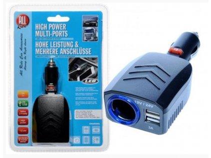 Zásuvka 1x Zap 2x 3A USB 12/24V