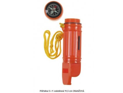 Píšťalka 5 v 1 vodotěsná 11,5 cm ORANŽOVÁ