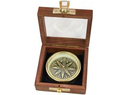 Kompas mosazný antik 3D s větrnou ružicí v dřevěné krabičce 9382B
