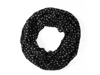 Nekonečný šátek námořnický se vzorem kotvy černý 160cm*50cm 2A1-121324