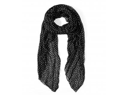 Dlouhý šátek se vzorem malé kotvičky černý 150cm*65cm 1F1-1946