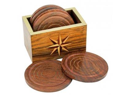 Dřevěné podtácky se stojánkem námořnické - palisandr 8 cm