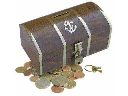 Dřevěná truhla - box kasička - pokladnička na mince 9005