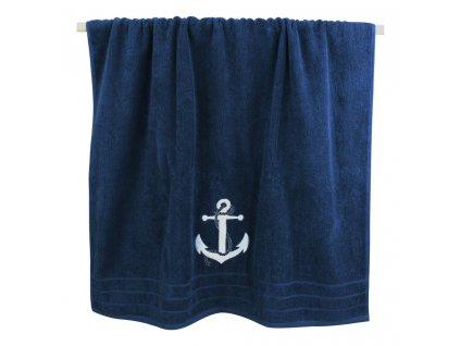 Osuška námořnická s kotvou 90 x 150 cm tmavě modrá