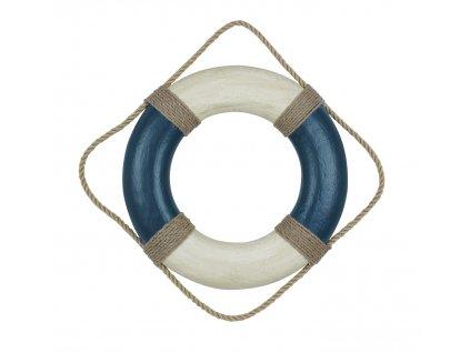 Záchranný kruh dekorační vintage 36 cm modrá a bílá