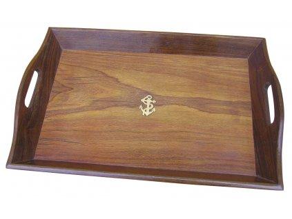 Podnos dřevěný námořnický - mosazná kotva 45 cm