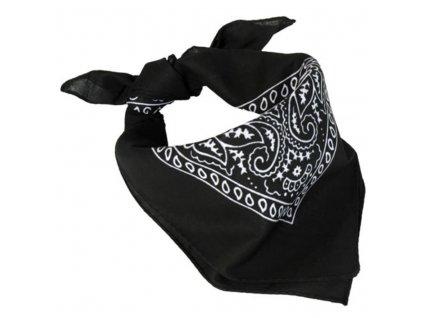 Šátek čtyřcípý 55x55 cm ČERNÝ s potiskem