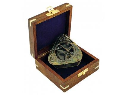 Sluneční hodiny - kompas v dřevěném boxu antik 6,5 cm 8549