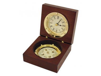 Kompas s hodinami - mosaz a dřevo