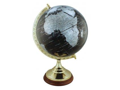 Glóbus zeměpisný mosazný černý 47 cm