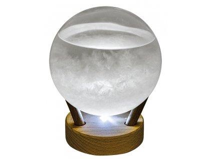 Bouřková sklenička - Stormglas ve tvaru koule s LED osvětlením 15 cm 5975