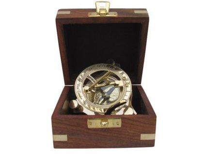 Sluneční hodiny - kompas v dřevěném boxu 7,5cm