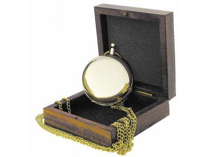 Kompas do kapsy s řetízkem v dřevěném boxu 5 cm 8240B