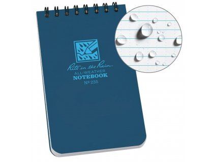Blok voděodolný RITE IN THE RAIN Notebook malý MODRÝ  + tužka s gumou