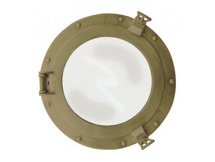 Lodní okénko otvíravé zrcadlové Ø 28,5 cm - mosazné