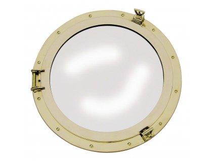 Lodní okénko otvíravé zrcadlové Ø 50 cm - mosazné 9027