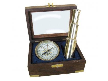 Námořní set dalekohled a kompas