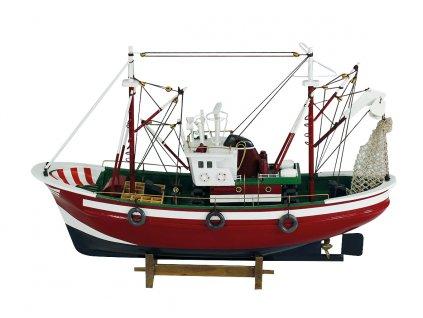 Model červené rybářské lodě 46 cm