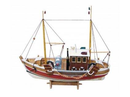 Model malé rybářské lodě 45 cm