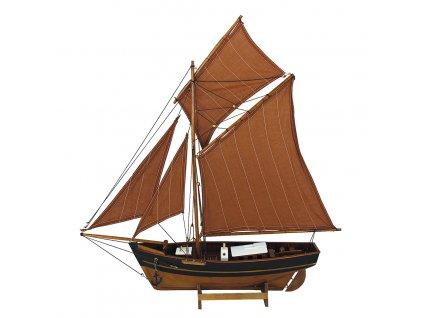 Model rybářského člunu s červenými plachtami 60 cm