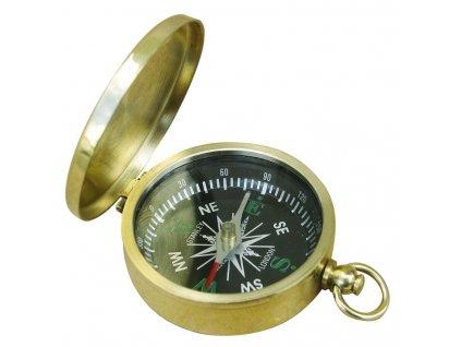 Malý mosazný kompas s víkem  a kroužkem Ø 4,5 cm 9241