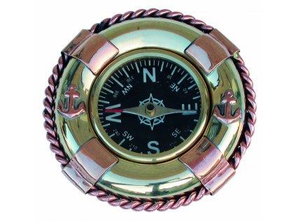 Kompas mosazný a měděný - záchranný kruh Ø 6,5 cm 9017
