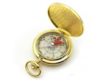 Zlacený kompas v uzavíratelném kovovém pouzdru Ø 4,7 cm